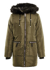 Women's Long Parka Coat Exposed Zip Fur Trim Hooded Quilted Parka Jacket