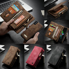 Genuine Leather Removable Wallet Magnetic Flip Card Slot Case Cover Fo