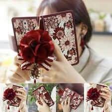 Luxury Leather Card Slot Stand Flower Wallet Flip Case Cover For iPhon