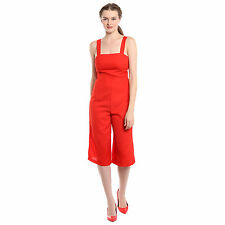Noble Faith 100% Polyester Red Side Cut Out Culottes Jumpsuit For Womens
