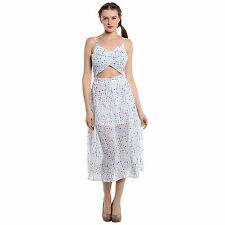 Noble Faith 100% Polyester White Printed Front Cut Out Dress For Womens