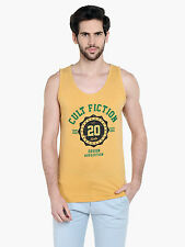 Cult Fiction Men's Yellow Cotton T-Shirt (CFM10AWM1032)