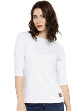 Cult Fiction women's White Marl Round Neck Cotton T-Shirt (CFG01WHM810)