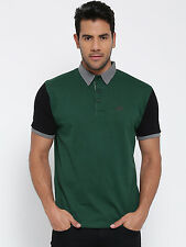 Cult Fiction men's D-Green Comfort Fit Polo Neck Cotton T-Shirt (CFM07DG771)