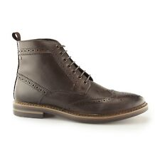 Base London HURST Mens Burnished Leather Brogue Derby Lace Up Ankle Boots Brown