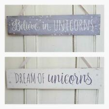 BELIEVE DREAM OF UNICORNS CHIC N SHABBY WALL PLAQUE