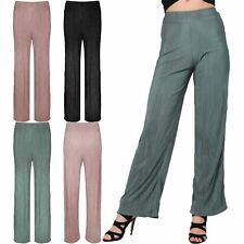 Womens Ladies High Waisted Baggy Wide Leg Pleated Pants Flared Palazzo Trousers