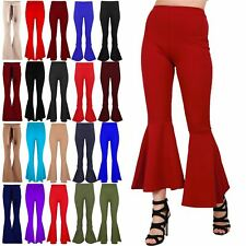 Womens Bell Bottom Palazzo High Waisted Cigarette Ladies Ruffle Frill Trousers