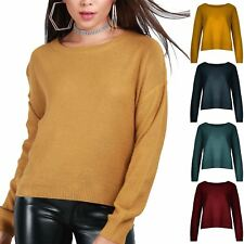 Womens Ladies Waffle Knit Round Neck Long Sleeve Oversized Baggy Pullover Jumper