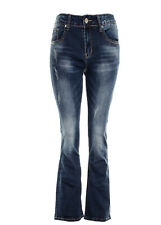 Women's Kick Flare Bell Bottom Bootcut Distressed Jeans Ladies Flared Denim Fade