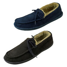 Mens Light Weight Faux Suede Fur Lined Stitched  Moccasin Slippers  Good Soles