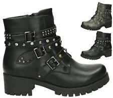 LADIES WOMENS COMBAT ARMY MILITARY WORKER ZIP BUCKLE FLAT BIKER ZIP ANKLE BOOTS