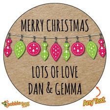 CHRISTMAS BAUBLES Personalised Stickers Wrapping Gift Wrap Label Seal XMAS 522