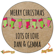 CHRISTMAS STOCKING Personalised Stickers Wrapping Gift Wrap Label Seal Kraft 523