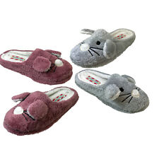 Ladies Novelty Rabbit  Bunny Ears  Slip On Fluffy Furry  Mule Slippers Mules