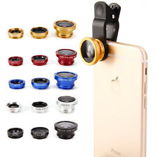 3in1 Clip Fish Eye Macro Wide Angle Lens For iPhone 4s 5s 6 7 8 Mobile Phone