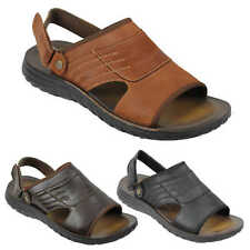 Mens Real Leather Sandals Adjustable Strap Gladiator Beach Slippers Black Brown