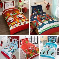 Kids Christmas Bedding Duvet Cover Children's Bed Set Festive Xmas Santa