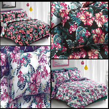 Tropical Floral Black and Purple Duvet Quilt Cover Bedding Set with Pillowcases