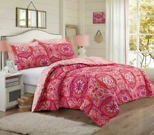 Patchwork Floral Mandala Coral Duet Quilt Cover Bedding set with Pillowcases
