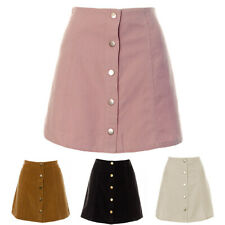 Womens A line Tan Black Pink White Cord Button Down Skirt Ladies Corduroy Short