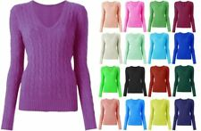 Womens Ladies Luxury V Neck Cable Knit Sweater Short Warm Jumper Top 8-16
