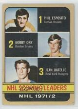 1972-73 Topps #63 Phil Esposito Jean Ratelle Bobby Orr Boston Bruins Hockey Card