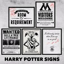 Metal Harry Potter Signs Plaques A5 Size Hogwarts Bellatrix Dobby Ministry Magic
