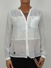 Superdry Blusa - Sheer Panel Camiseta - g40ky000 26c Optic Blanco - + NUEVO +
