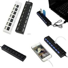 7 Port USB 2.0 Black Hub with High Speed Adapter ON/OFF Switch for Laptop-PC EA~