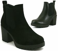 WOMENS LADIES ANKLE BOOTS MID BLOCK HEEL CHUNKY PLATFORM CHELSEA SHOES SIZE