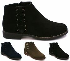 LADIES CHELSEA BLOCK HEEL RIDING BIKER LACE WOMENS FLAT ANKLE BOOTS SIZE 3-8