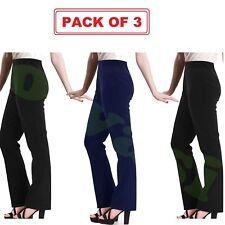 Ladies Womens Nurse Work Casual Ribbed Bootleg PACK OF 3 Stretch Trousers Pants