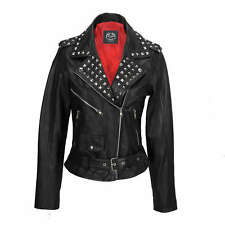 Ladies Women Black Real Leather Studded Biker Brando Style Belted Fitted Jacket