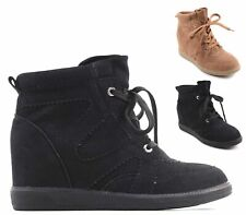 LADIES HIDDEN WEDGE HI TOP TRAINERS SNEAKERS PUMPS WOMENS ANKLE BOOTS SHOES SIZE