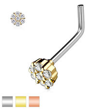 Nose Stud Stainless Steel Surgeons 316L, Silver, Gold, Rose Gold with Zirconia