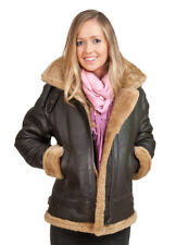 Women's Brown Hooded Sheepskin Flying Leather Jacket With Ginger Fur