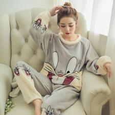 Women Pajamas Set Jacket Pant Sleep Wear Female Pants Nightwear Warm Nightgown