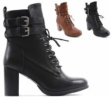 Ladies Womens Girls Zip Army Combat Biker Lace Up Military Ankle Boots Size New