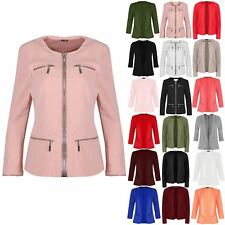 Womens Ladies Tailored Casual Long Sleeve Front 4 Pocket Zip Up Jacket Blazer