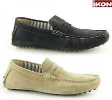 Ikon JENSON Mens Suede Leather Casual Slip On Moccasin Driving Loafers Taupe