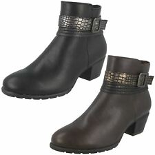 Ladies Spot On Snake Effect Strap Zip Fastening Ankle Boots - F50730