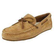Mens Clarks Suede Leather Slip On Warm Moccasin Slippers - Crackling Glow