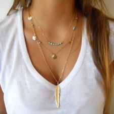 Feather Bead Coin Necklace Boho Jewellery Gypsy Hippy Pendant Tassel Charm Gift