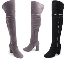 LADIES WOMENS OVER THE KNEE THIGH HIGH BLOCK HEEL STUDDED FAUX SUEDE BOOT