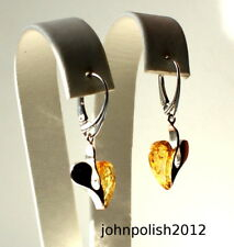 Yellow and Cherry Hanging Heart's Baltic Amber Earrings on Silver 925