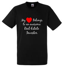 MY HEART BELONGS TO AN AWESOME REAL ESTATE INVESTOR T SHIRT XMAS GIFT FUNNY