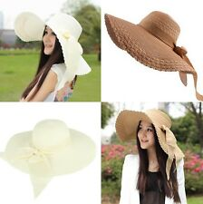 Women Ladies Beige Straw Dome Bucket Hat with Bow Summer Beach Foldable Cap NEW