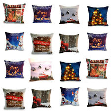 """18"""" Christmas Cushion Cover Santa Claus Reindeer Stag Pattern Square Pillow Case"""