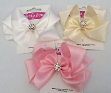 """Baby/Girls 4"""" """"Candy Bow"""" Satin Ribbon Bow with Diamante on Alligator Clip"""